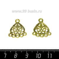 Коннектор № 57 цвет Античное золото 6 петель 22*18 мм 1 штука 063576 - 99 бусин