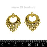 Коннектор Восточный 33*24 мм, 11 петель, цвет античное золото 1 штука 063577 - 99 бусин