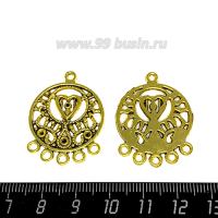 Коннектор Околдованное сердце 32*25 мм, 6 петель, цвет античное золото 1 штука 063581 - 99 бусин