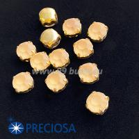Шатоны (стразы) PRECIOSA MAXIMA пришивные хрустальные МАТОВЫЕ, размер ss-39 (8,4 мм), цвет Light Colorado Topaz/оправа Gold 1штука, Чехия 063586 - 99 бусин