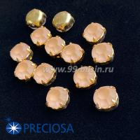 Шатоны (стразы) PRECIOSA MAXIMA пришивные хрустальные МАТОВЫЕ, размер ss-39 (8,4 мм), цвет Light Peach/оправа Gold 1штука, Чехия 063587 - 99 бусин