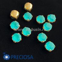 Шатоны (стразы) PRECIOSA MAXIMA пришивные хрустальные МАТОВЫЕ, размер ss-39 (8,4 мм), цвет Blue Zircon/оправа Gold 1штука, Чехия 063591 - 99 бусин