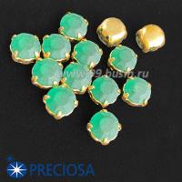 Шатоны (стразы) PRECIOSA MAXIMA пришивные хрустальные МАТОВЫЕ, размер ss-39 (8,4 мм), цвет Emerald/оправа Gold 1штука, Чехия 063592 - 99 бусин
