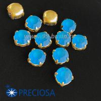 Шатоны (стразы) PRECIOSA MAXIMA пришивные хрустальные МАТОВЫЕ, размер ss-39 (8,4 мм), цвет Capri Blue/оправа Gold 1штука, Чехия 063593 - 99 бусин