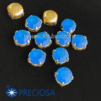 Шатоны (стразы) PRECIOSA MAXIMA пришивные хрустальные МАТОВЫЕ, размер ss-39 (8,4 мм), цвет Sapphire/оправа Gold 1штука, Чехия 063594 - 99 бусин