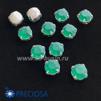 Шатоны (стразы) PRECIOSA MAXIMA пришивные хрустальные МАТОВЫЕ, размер ss-39 (8,4 мм), цвет Emerald/оправа Silver 1штука, Чехия 063611 - 99 бусин