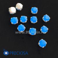 Шатоны (стразы) PRECIOSA MAXIMA пришивные хрустальные МАТОВЫЕ, размер ss-39 (8,4 мм), цвет Capri Blue/оправа Silver 1штука, Чехия 063613 - 99 бусин