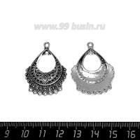 Коннектор Восточное очарование 36*25 мм 9 петель, цвет старое серебро 1 штука 063631 - 99 бусин