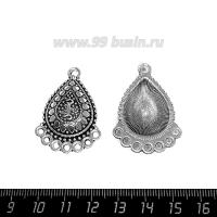Коннектор Арабские мотивы 37*26 мм 8 петель, цвет старое серебро 1 штука 063634 - 99 бусин