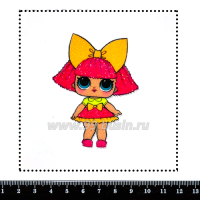 Шаблон для броши Кукла ЛОЛ/оранжевый бант, фетр Корея Премиум, толщина 1,25 мм, размер 10*10 см 063672 - 99 бусин