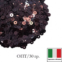 ОПТ Пайетки 3 мм Италия плоские цвет 4161 Vinaccia Metallizzati (Чёрный шоколад металлик) 30 граммов 063760 - 99 бусин