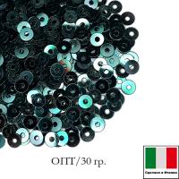 ОПТ Пайетки Италия плоские 3 мм Verdone metall. M32 (Зелёный мох металлик) 30 граммов 063761 - 99 бусин
