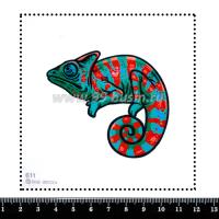 Шаблон для броши Хамелеон изумрудный/красный 611, фетр Корея Премиум, толщина 1,25 мм, размер 10*10 см 063843 - 99 бусин