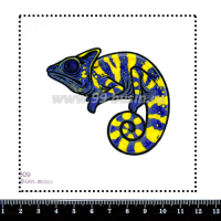 Шаблон для броши Хамелеон фиолетовый/желтый 809, фетр Корея Премиум, толщина 1,25 мм, размер 10*10 см 063844 - 99 бусин