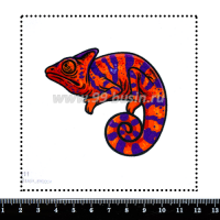 Шаблон для броши  Хамелеон фиолетовый/оранжево-красный 811, фетр Корея Премиум, толщина 1,25 мм, размер 10*10 см 063846 - 99 бусин
