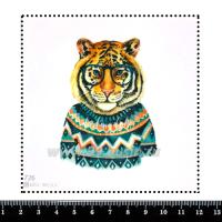 Шаблон для броши Тигр в свитере 726, фетр Корея Премиум, толщина 1,25 мм, размер 10*10 см 063860 - 99 бусин