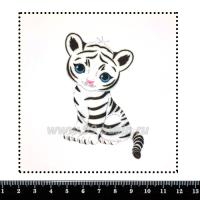 Шаблон для броши Белый тигруля, фетр Корея Премиум, толщина 1,25 мм, размер 10*10 см 063861 - 99 бусин