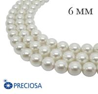 Жемчуг хрустальный Preciosa Maxima 6 мм Pearlescent White 10 штук Чехия 063899 - 99 бусин