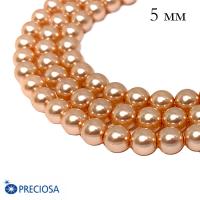 Жемчуг хрустальный Preciosa Maxima 5 мм Peach 10 штук Чехия 063904 - 99 бусин