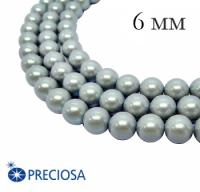Жемчуг хрустальный Preciosa Maxima 6 мм Pearlescent Grey 10 штук Чехия 063910 - 99 бусин