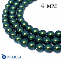Жемчуг хрустальный Preciosa Maxima 4 мм Pearlescent Peacock Green 10 штук Чехия 063919 - 99 бусин