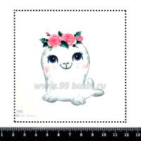 Шаблон для броши Морской котик с цветочками 146, фетр Корея Премиум, толщина 1,25 мм, размер 10*10 см 063945 - 99 бусин