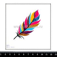 Шаблон для броши Пёрышко цветное 663, фетр Корея Премиум, толщина 1,25 мм, размер 10*10 см 063954 - 99 бусин