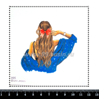 Шаблон для броши Девушка с красным бантом в волосах 995, фетр Корея Премиум, толщина 1,25 мм, размер 10*10 см 063974 - 99 бусин