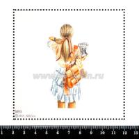 Шаблон для броши Девушка с персиковым рюкзаком 989, фетр Корея Премиум, толщина 1,25 мм, размер 10*10 см 063976 - 99 бусин