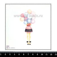 Шаблон для броши Девушка с воздушными шарами, фетр Корея Премиум, толщина 1,25 мм, размер 10*10 см 063979 - 99 бусин