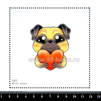 Шаблон для броши Собачка с сердцем 649, фетр Корея Премиум, толщина 1,25 мм, размер 10*10 см 063985 - 99 бусин