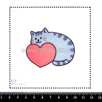 Шаблон для броши Котик с сердцем 618, фетр Корея Премиум, толщина 1,25 мм, размер 10*10 см 063990 - 99 бусин