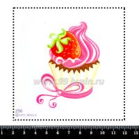 Шаблон для броши Капкейк с клубникой и кремом 256, фетр Корея Премиум, толщина 1,25 мм, размер 10*10 см 064000 - 99 бусин