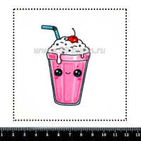 Шаблон для броши Милк-шейк с вишенкой, фетр Корея Премиум, толщина 1,25 мм, размер 10*10 см 064006 - 99 бусин