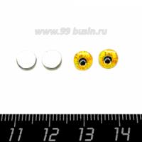 Декоративный элемент Глаз тигра кабашон стеклянный 6 мм, цвет жёлтый/черный, ручная работа, 2 глаза/упаковка 064056 - 99 бусин