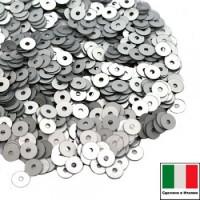 Пайетки 2 мм Италия плоские цвет 916W Argento Satinato (матовое серебро) 2 грамма 064080 - 99 бусин