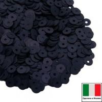 Пайетки 2 мм Италия плоские цвет 996W Nero Satinato (Чёрный сатин) 2 грамма 064083 - 99 бусин