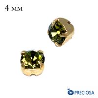 Шатоны PRECIOSA пришивные хрустальные, размер ss-16 (4 мм), цвет Khaki/gold 12 штук(!)/упаковка, Чехия 064084 - 99 бусин