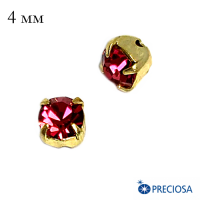Шатоны PRECIOSA пришивные хрустальные, размер ss-16 (4 мм), цвет IndianPink/gold 12 штук(!)/упаковка, Чехия 064085 - 99 бусин