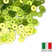 Пайетки 3 мм Италия плоские цвет 726W светло-зелёный сатин 3 грамма 064089 - 99 бусин