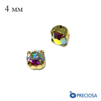 Шатоны PRECIOSA пришивные хрустальные, размер ss-16 (4 мм), цвет Crystal AB/gold, 12 штук/упаковка, Чехия 064099 - 99 бусин