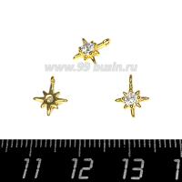 Подвеска Премиум Звёздочка с 1 цирконом 10*8 мм, цвет золото 1 штука 064107 - 99 бусин