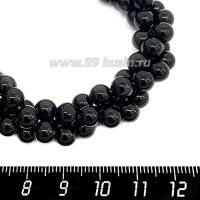 Натуральный камень  АГАТ, бусина круглая 6-6,5 мм, цвет черный блестящий, 38 см/нить 064113 - 99 бусин