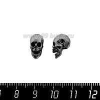 Бусина Премиум Череп 12*6,6 мм, внутреннее отверстие 2 мм, с черными микроцирконами, черное родирование, 1 штука 064116 - 99 бусин