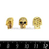 Бусина Премиум Череп 13*10 мм, внутреннее отверстие 3 мм, с бесцветными и черными микроцирконами, цвет золото, 1 штука 064117 - 99 бусин