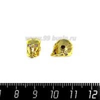 Бусина Премиум Железный человек 14*8 мм, внутреннее отверстие 2 мм, с бесцветными микроцирконами, цвет золотой, 1 штука 064120 - 99 бусин