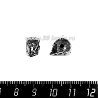 Бусина Премиум Железный человек 14*8 мм, внутреннее отверстие 2 мм, с бесцветными микроцирконами, чёрное родирование, 1 штука 064122 - 99 бусин