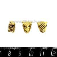Бусина Премиум Голова пантеры 10,5*11 мм, с зелеными микроцирконами, внутреннее отверстие 2 мм, цвет золото, 1 штука 064126 - 99 бусин