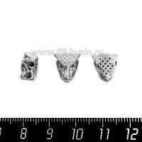 Бусина Премиум Голова пантеры 10,5*11 мм, с зелеными микроцирконами, внутреннее отверстие 2 мм, родированный, 1 штука 064127 - 99 бусин