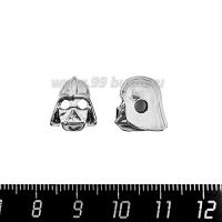 Бусина Премиум Дарт Вейдер 12*10 мм, с бесцветными микроцирконами, внутреннее отверстие 3 мм, родированный, 1 штука 064128 - 99 бусин